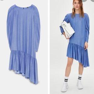 Zara Chambray Asymmetrical Midi Ruffle Hem Dress
